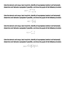 Graphs of Rational Functions Gallery Activity
