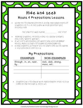 Grasping Grammar: Hide & Seek (Nouns/Prepositions)