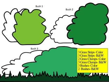 Grass and Bush Clip Art