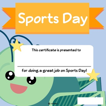Grasshopper Themed Sports Day Certificate