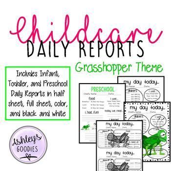 Grasshopper Themed Childcare Daily Reports  (Daycare)