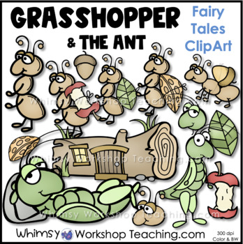 Grasshopper and Ant Fable Clip Art