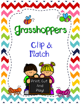 Grasshoppers. Color matching clip cards.