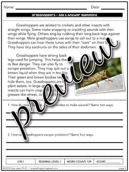 Grasshoppers Nonfiction Text Reading Comprehension Passage & Questions