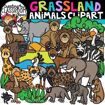Grassland Animals Clipart {Savannah Animals Clipart}