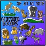 Grassland Habitat Doodles digital clip art (BW and color P