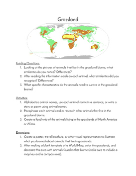 Grassland Biome Teacher's Resource Guide and Pictures