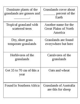 Grassland Vocabulary cards