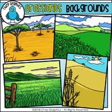 Grasslands Background Scenes Clip Art - Chirp Graphics