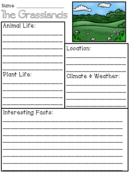 Grasslands Biome/Habitat Research Packet