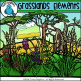 Grasslands Elements Clip Art - Chirp Graphics