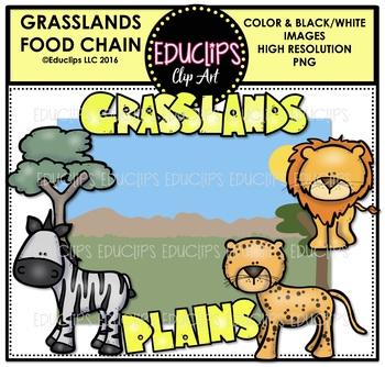 Grasslands Food Chain Clip Art Mini Bundle {Educlips Clipart}