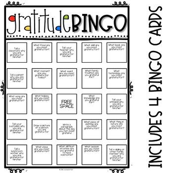 Gratitude Bingo Challenge - Elementary School Counseling - Thanksgiving