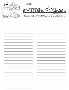 Thanksgiving Gratitude Challenge {Freebie}