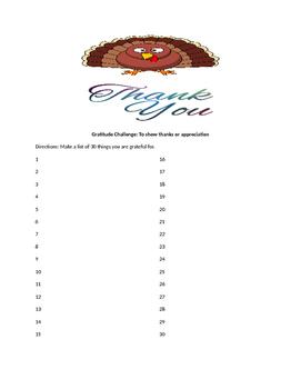 Gratitude Challenge - Thanksgiving