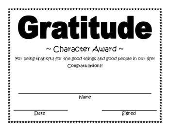 Gratitude Character Award