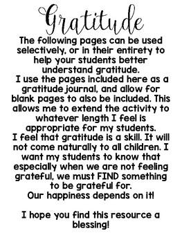 Gratitude Character Building Resource