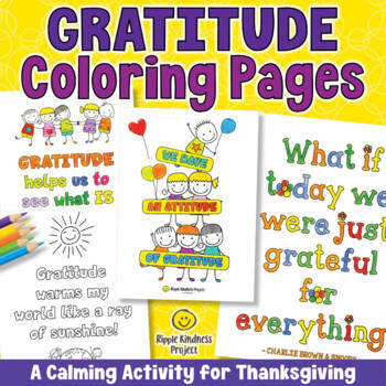Gratitude Coloring Pages | Thanksgiving Activity - Distance Learning