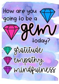 Gratitude Empathy Mindfulness GEM poster