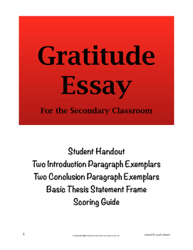 Gratitude Essay; Secondary ELA; Five-Paragraph Essay
