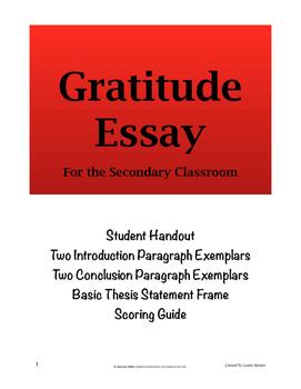 Gratitude Essay; Secondary; Five-Paragraph Essay