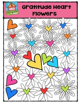 Gratitude Heart Flowers {P4 Clips Trioriginals Digital Clip Art}