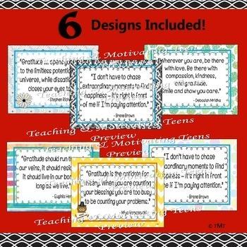 Gratitude Posters & CCSS ELA Lessons Middle & High School, Preventive Discipline