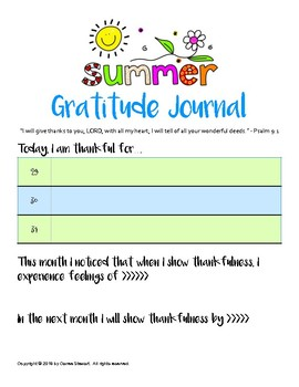 Gratitude Journal - SUMMER