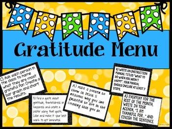 Gratitude Menu