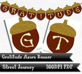 Gratitude Printable Acorn Banner Gold Glitter Effect 300 D