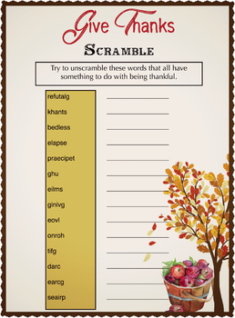 Gratitude Scramble | Learning about being Thankful | Instant Download