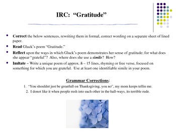 Read/Write about Gratitude: Common Core Grammar/Simile Activity w/Modern Poetry!