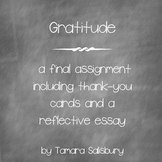 Gratitude - a final essay with thank-you cards