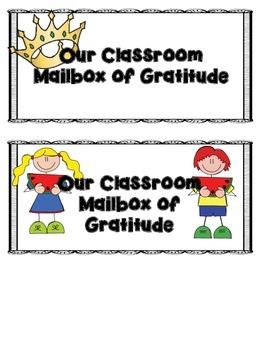 Gratitude in the Classroom FREEBIE