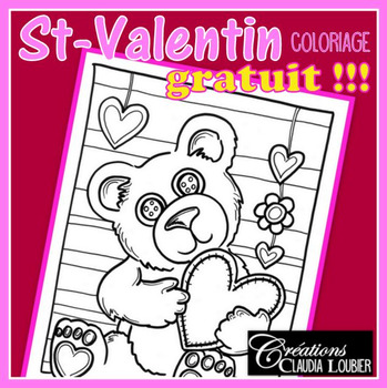 Gratuit: Coloriage St-Valentin : Ourson