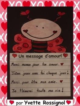 Gratuit! Écriture pour la Saint-Valentin ( 1er cycle, French immersion)