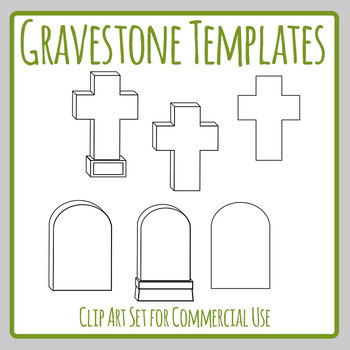 Gravestone / Memorial Day / Halloween Blank Outline Templates Clip Art