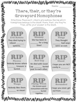 Graveyard Homophone Craftivity for Halloween