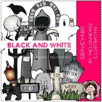 Graveyard clip art - BLACK AND WHITE - by Melonheadz