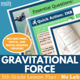 Gravitational Force - Supplemental Lesson - No Lab - Fifth Grade
