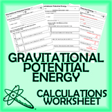 Gravitational Potential Energy Worksheet