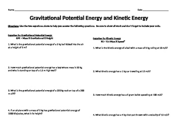 Gravitational Potential Energy and Kinetic Energy