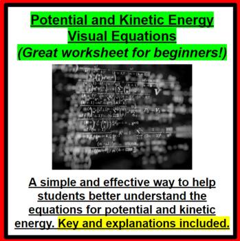 Gravitational Potential Energy and Kinetic Energy Visual Equations