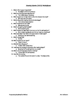 Gravity (2013) Worksheet