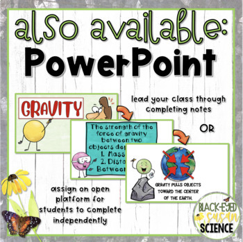Gravity Doodle Notes & Understanding Checkpoint (Quiz) (NGSS Aligned)