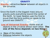 Gravity, Free Fall and Terminal Velocity Notes