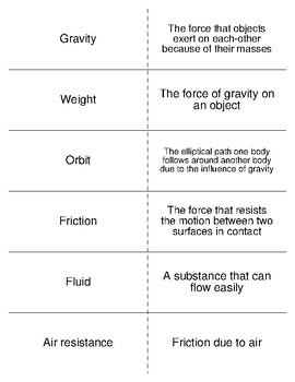 Gravity, Friction, Forces, And Pressure Vocab. Flash Cards for Physical Science
