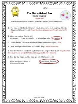 "Germs Magic School Bus ""Inside Raphie"" Video Response Worksheet"