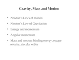 Gravity, Mass and Motion