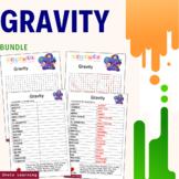Gravity Science Activity Bundle Scramble Word Finder Gravi